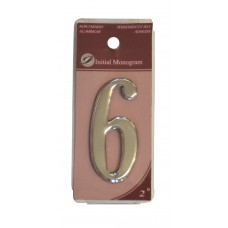 """2"""" Silver Effect Numeral 6"""