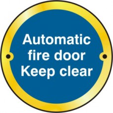 Automatic fire door Keep clear door disc - PB (75mm dia.)
