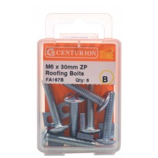 M6 x 30mm ZP Roofing Bolts  (Pack of 6)