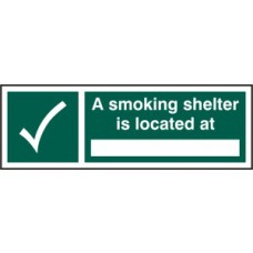 A smoking shelter is located at ______ - SAV (300 x 100mm)