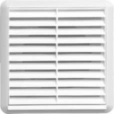 Louvred Grille with Flyscreen - White - 100mm