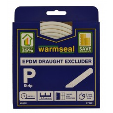 5m White 'P' Profile Longlife Foam Draught Excluders