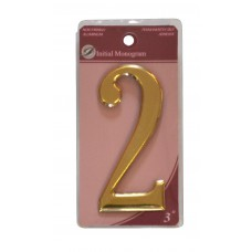"""3"""" Gold Effect Numeral 2"""