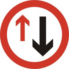 600mm dia. Dibond 'Give Way to Oncoming Traffic' Road Sign (with channel)