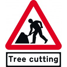 Road Works with Tree cutting Supp plate - TriFlex Roll up traffic sign (900mm Tri)