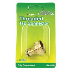 "Hose Connector - Brass Threaded Tap - 1/2"" to 3/4"" BSP"