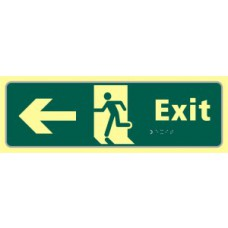 Exit man running arrow left - TaktylePh (450 x 150mm)