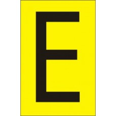 75mm Yellow Vinyl - Character 'E'   (Pack of 10)