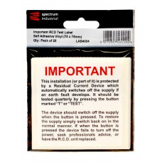 Important RCD Test Label - Pack of 25  SAV (75 x 75mm)