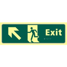 Exit man running arrow up/left - TaktylePh (450 x 150mm)