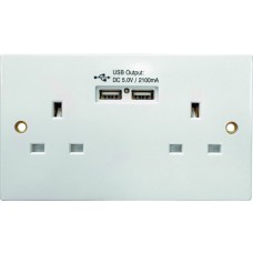 2 Gang Switched Socket with USB Chargepoint
