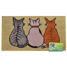 Mats - 'Cats' Tufted Coir Brush Mat with Vinyl Base - 45 x 75cm