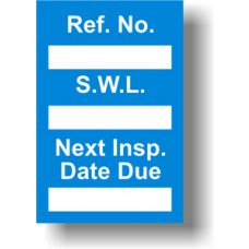 Safe Working Load Mini Tag Insert - Blue (Pack of 20)