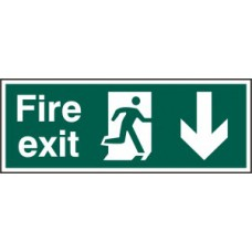 Fire exit (Man arrow down) - RPVC (400 x 150mm)