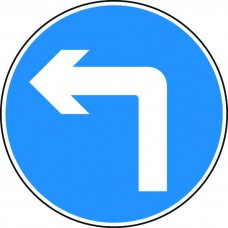 600mm dia. Dibond 'Left Turn' Road Sign (without channel)