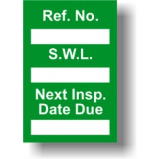 Safe Working Load Mini Tag Insert - Green (Pack of 20)