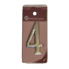 """2"""" Silver Effect Numeral 4"""
