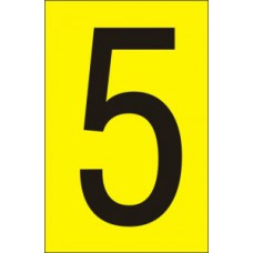 75mm Yellow Vinyl - Character '5'   (Pack of 10)