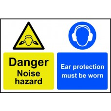 Caution Noise hazard Ear protection must be worn - PVC (200 x 300mm)