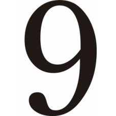 51mm Black Traditional Oldstyle Font Vinyl Number 9
