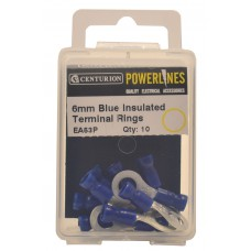 6mm Blue Insulated Terminal Rings (Pack of 10)