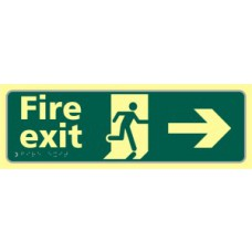 Fire exit man running arrow right - TaktylePh (450 x 150mm)
