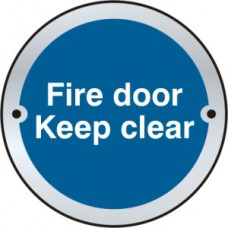 Fire door Keep clear door disc - SSS (75mm dia.)