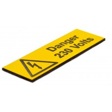 Danger 230 Volts - Pack of 5 Engraved (75 x 25mm)