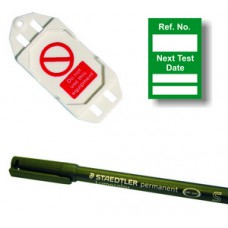 Next Test Mini Tag Insert Kit - Green (20 AssetTag holders, 40 inserts, 1 pen)