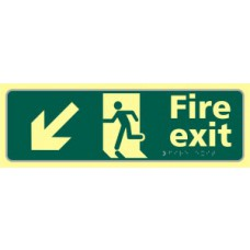 Fire exit man running arrow down/left - TaktylePh (450 x 150mm)