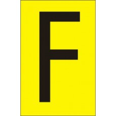 75mm Yellow Vinyl - Character 'F'   (Pack of 10)