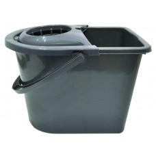 Bucket - Mop and Wringer - Silver Plastic - 12 Litre