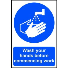 Wash your hands before commencing work - PVC (200 x 300mm)