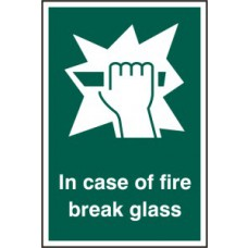 In case of fire break glass - RPVC (100 x 150mm)