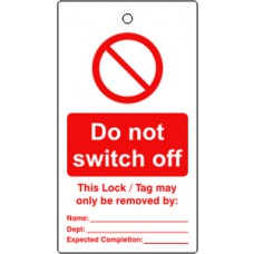 Lockout tags - Do not switch off (Single sided 10 pack)