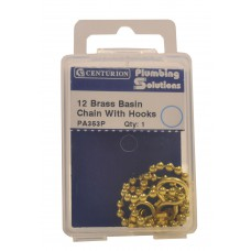"12"" Brass Basin Chain With Hooks"