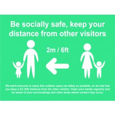*2 METRES*  Be socially safe Temp sign - 600 x 450mm – Turquoise (Metal Frame, ACP sign)