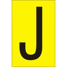 75mm Yellow Vinyl - Character 'J'   (Pack of 10)