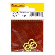 "25mm (1"") x 12g PB 'S' Hook (Pack of 2)"