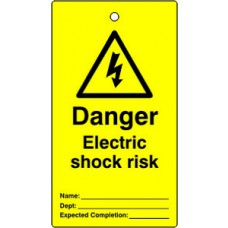 Lockout tags - Danger Electric shock risk (Single sided 10 pack)