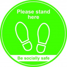 400mm Floor Graphic Please stand here - Green