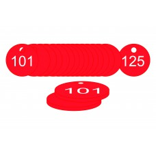 38mm dia. Traffolite Tags - Red (101 to 125)