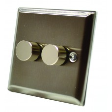 Stainless Steel Double Dimmer Switch