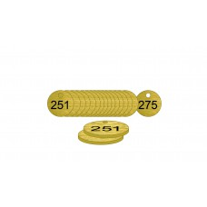 33mm dia. Brass Filled Tags (251 to 275)