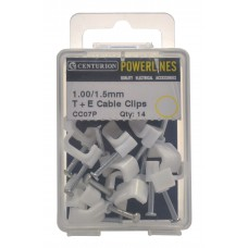 1.00/1.5mm T+E White Cable Clips (Pack of 14)