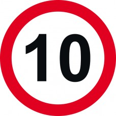 450mm dia Dibond 10mph Road Sign (without channel)