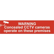 Sign/Sticker - Warning Concealed CCTV cameras operate on these premises - PVC (200 x 50mm)
