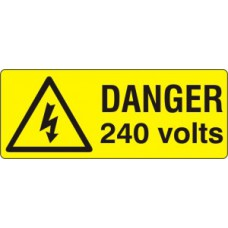 Danger 240 volts  - SAV (96 x 38mm, sheet of 15 labels)