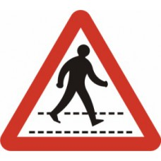 600mm tri. Dibond 'Pedestrian Walkway' Road Sign (with channel)