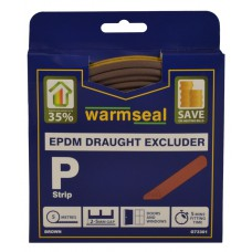 5m Brown 'P' Profile Longlife Foam Draught Excluders